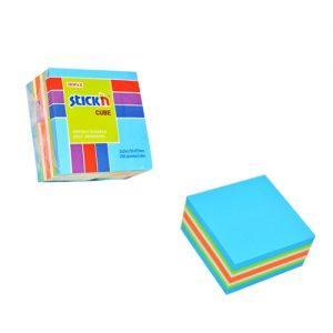 cub autoadeziv 76x76 mm stickn 5 culori asortate alb galben orange verde albastru 400 filebuc 9239
