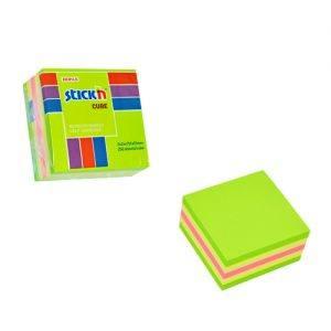 cub autoadeziv 76x76 mm stickn 5 culori asortate alb roz galben verde mov 400 filebuc 9240
