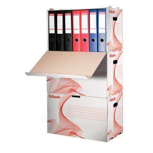 container pt arhivare esselte din carton alb capacitate 6 bibliorafturi 75mm 9755