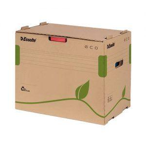 container pt arhivare esselte eco din carton natur capacitate 5 bibliorafturi 75mm 9758