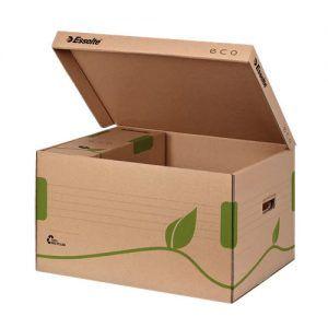 container pt arhivare esselte eco din carton natur cu capac 439x242x345 mm 9759
