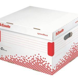 container pt arhivare esselte speedbox m din carton alb cu capac 367x263x325 mm 9763