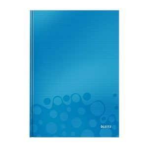 caiet de birou a4 cu coperti din carton laminat leitz wow dictando albastru metalizat 80 file 10027