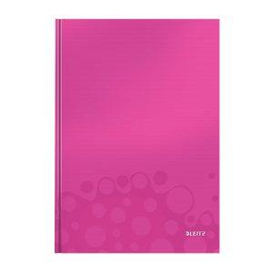 caiet de birou a4 cu coperti din carton laminat leitz wow matematica roz metalizat 80 file 10037
