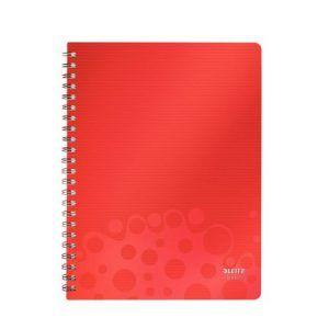 caiet de birou a4 cu coperti din plastic leitz bebop dictando rosu 80 file 10040