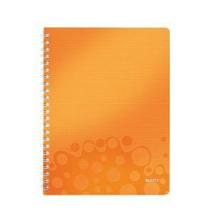 caiet de birou a4 cu coperti din plastic leitz wow dictando orange metalizat 80 file 10055